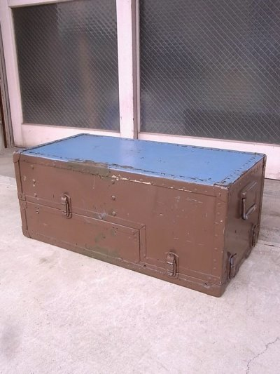 画像1: アンティーク トランク 中型トランク スーツケース ブルー×ブラウン タテ開き コーヒーテーブルに ビンテージ