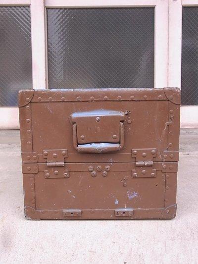画像2: アンティーク トランク 中型トランク スーツケース ブルー×ブラウン タテ開き コーヒーテーブルに ビンテージ