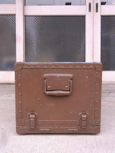 画像4: アンティーク トランク 中型トランク スーツケース ブルー×ブラウン タテ開き コーヒーテーブルに ビンテージ
