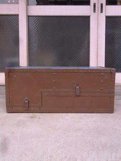 画像3: アンティーク トランク 中型トランク スーツケース ブルー×ブラウン タテ開き コーヒーテーブルに ビンテージ