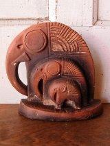 卓上オブジェ フォークアート 南米 陶器 エレファント 象 ゾウ アンティーク ビンテージ