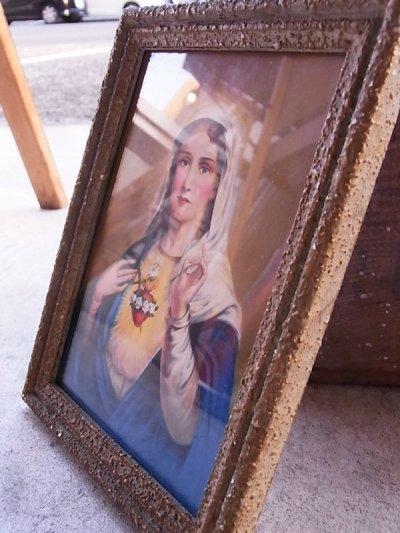 画像5: 聖母マリア ガラス入りフレーム ウォールオーナメント アンティーク ビンテージ