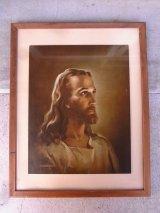 1940'S ジーザス jesus イエス キリスト ウッドフレーム ガラス入り WARNER SALLMAN アンティーク ウォールオーナメント ビンテージ