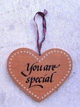 ハート you are special ウッド ウォールオーナメント 壁掛け アンティーク ビンテージ