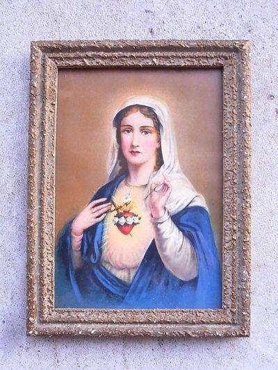 画像1: 聖母マリア ガラス入りフレーム ウォールオーナメント アンティーク ビンテージ