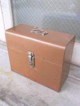 メタルティンボックス ファイルストレージ 持ち手付き ブラウン インダストリアル アンティーク ビンテージ