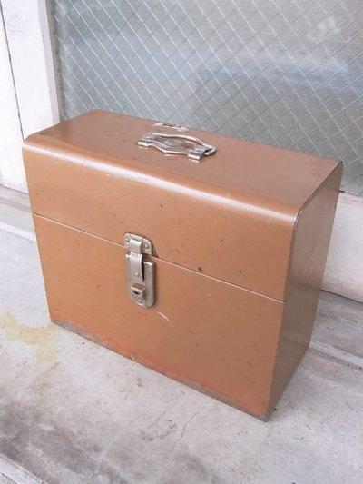 画像1: メタルティンボックス ファイルストレージ 持ち手付き ブラウン インダストリアル アンティーク ビンテージ