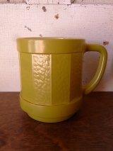 フェデラル マグカップ ミルクガラス 黄緑色 アンティーク ビンテージ