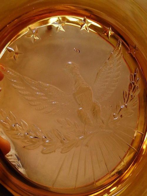 other photographs.1: 灰皿 アッシュトレイ アンバーガラス 合衆国 国章 ハクトウワシ アンティーク ビンテージ