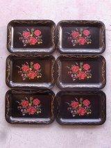 カルトン carton キャッシュトレー ティントレイ カーリー OLD ピンスト 花柄 ブラック アンティーク ビンテージ