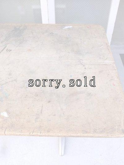 画像4: スクールデスク ワークテーブル ワークベンチ アートテーブル モダンアート ウッドテーブル ウッド×アルミ合金 大型 アンティーク ビンテージ