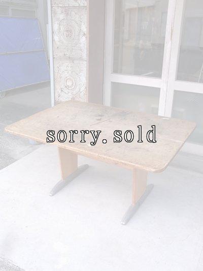 画像1: スクールデスク ワークテーブル ワークベンチ アートテーブル モダンアート ウッドテーブル ウッド×アルミ合金 大型 アンティーク ビンテージ