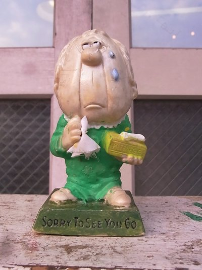 画像1: 70'S カスタムメイド メッセージドール 人形 SORRY TO SEE YOU GO ペイント アンティーク ビンテージ
