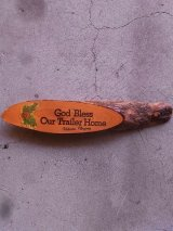 GOD BLESS OUR TRAILER HOME 壁掛けオブジェ ウッド ウォールオーナメント アンティーク ビンテージ
