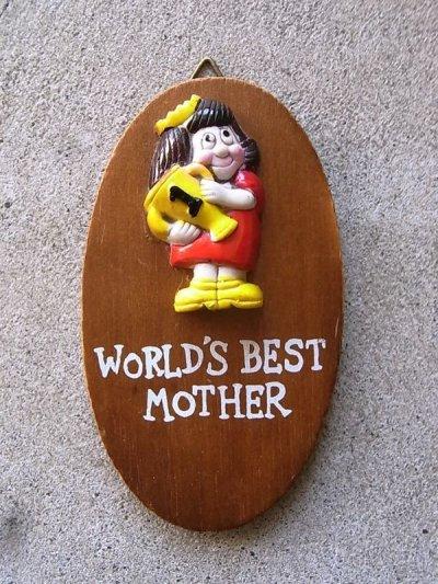 画像1: メッセージドール 人形 壁掛け world's best mother ウォールデコ ウォールオーナメント アンティーク ビンテージ