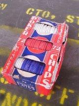 1950'S カジノゲームコイン チップ 硬質厚紙 レッド ブルー ホワイト POKER CHIPS アンティーク ビンテージ