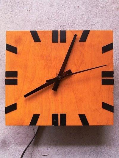 画像1: 1960'S ウォールクロック クラフトクロック ミッドセンチュリーモダン 壁掛け時計 ウッド 四角 アンティーク ビンテージ