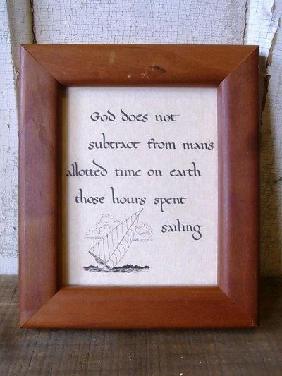 画像1: God does not sabtract... メッセージアート セーリング ウッドフレーム ウォールオーナメント 壁掛け アンティーク ビンテージ