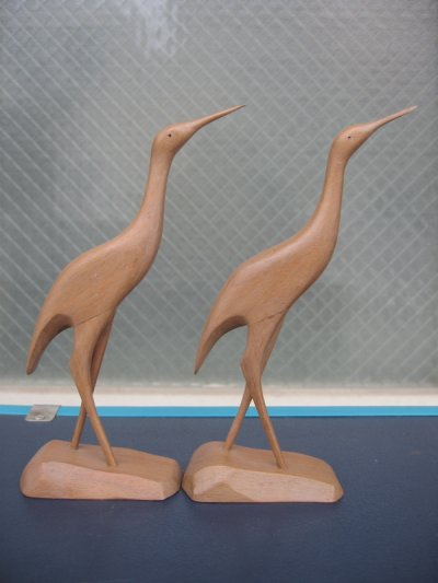 画像3: クレイン 鶴 ツル 鳥 バード ウッド folkart フォークアート ペア set アンティーク ビンテージ