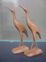 クレイン 鶴 ツル 鳥 バード ウッド folkart フォークアート ペア set アンティーク ビンテージ