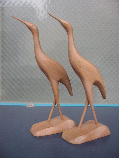 画像1: クレイン 鶴 ツル 鳥 バード ウッド folkart フォークアート ペア set アンティーク ビンテージ