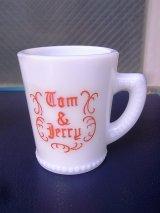 マッキー社 McKEE マグカップ プリントマグ tom&jerry トム&ジェリー エッグノッグ ミルクガラス アンティーク ビンテージ