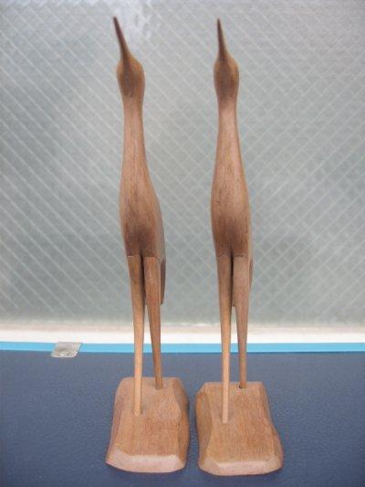 画像2: クレイン 鶴 ツル 鳥 バード ウッド folkart フォークアート ペア set アンティーク ビンテージ