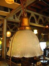 1920'S 1930'S シーリングライト 1灯 リブ付きフロストガラスシェード ペンダントライト ホロフェン ホロフェーン HOLOPHANE アンティーク ビンテージ