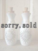 POT オイルボトル ソースポット 調味料入れ オリーブオイル ビネガー 幾何学模様 陶器 JAPAN 2PCS SET アンティーク ビンテージ
