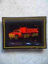 ガラストレイ 小物入れ トラック トレイ プレート スモーククリアガラス 絵柄 アンティーク ビンテージ