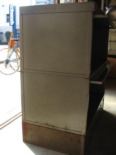 画像3: 1940'S 1950'S industrial ディスプレイケース ショーケース アイアン メタル ブックシェルフ メタルドロワー グレー 2段 SHAW WALKER アンティーク ビンテージ
