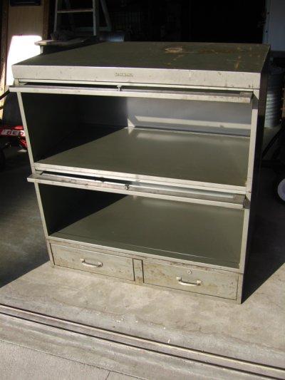 画像2: 1940'S 1950'S industrial ディスプレイケース ショーケース アイアン メタル ブックシェルフ メタルドロワー グレー 2段 SHAW WALKER アンティーク ビンテージ