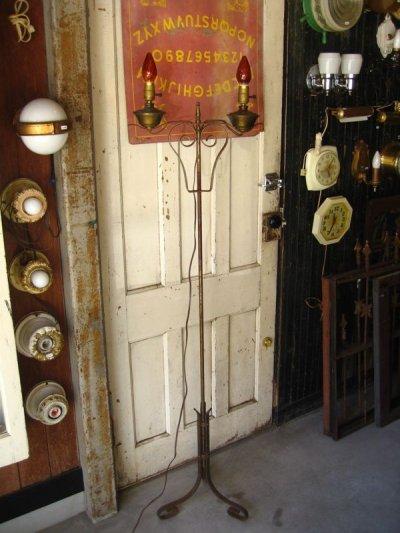 画像1: フロアランプ 1950'S ツインソケット 燭台デザイン 2灯 高さ変更可能 アイアン 真鍮 アンティーク ビンテージ