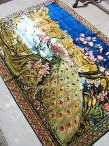 カーペット ラグ アート クジャク 孔雀 peacock ウォールオーナメント 壁掛け アンティーク ビンテージ