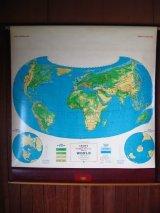 地図 教材 スクール ロールマップ WORLD 世界地図 CRAM'S 壁掛け 店舗装飾 アンティーク ビンテージ