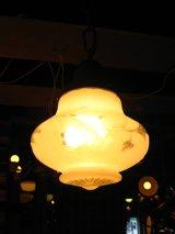 1930'S 40's シーリングライト 1灯 フロスト&クリアガラスシェード コンビシェード ペンダントライト 装飾 アンティーク ビンテージ