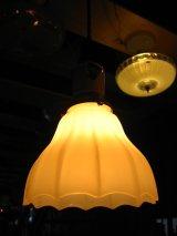 1920'S 30'S シーリングライト ポーセリンソケット 1灯 へヴィーミルクガラスリブシェード ペンダントライト アンティーク ビンテージ