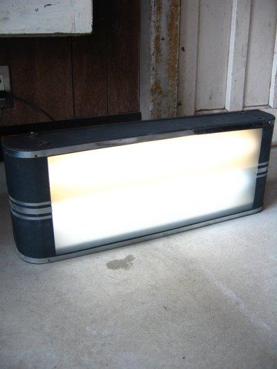 画像1: 1940'S アールデコ インダストリアルライト 2灯 ライトサイン アドバタイジングライト メタルフレーム フロストガラス アンティーク ビンテージ