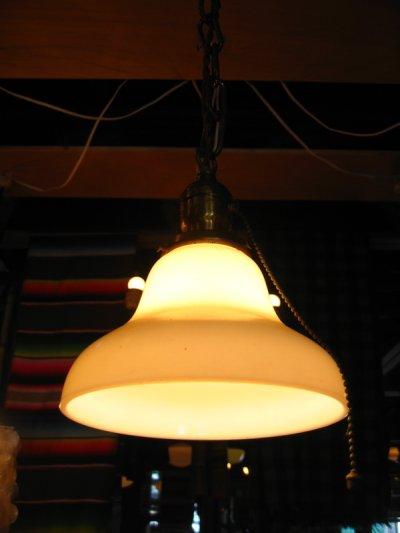 画像1: 1910'S 20'S シーリングライト 1灯 ミルクガラスシェード ペンダントライト 真鍮 アンティーク ビンテージ