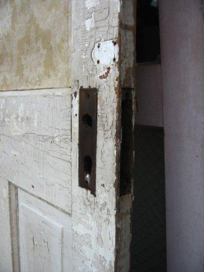 画像4: ガラス窓付木製ドア ホワイト スパイダーネットペイント シャビー 片面クロス付き アンティーク ビンテージ