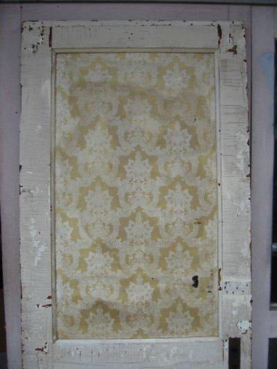 画像2: ガラス窓付木製ドア ホワイト スパイダーネットペイント シャビー 片面クロス付き アンティーク ビンテージ