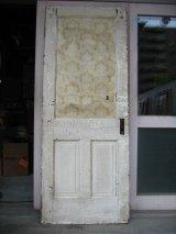 ガラス窓付木製ドア ホワイト スパイダーネットペイント シャビー 片面クロス付き アンティーク ビンテージ