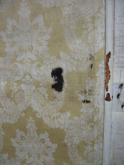 画像3: ガラス窓付木製ドア ホワイト スパイダーネットペイント シャビー 片面クロス付き アンティーク ビンテージ