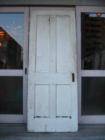 画像1: 木製ドア ホワイト ひび割れ塗装 シャビー スパイダー アンティーク ビンテージ