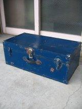 トランク 中型トランク スーツケース ブルー 鍵付き 店舗什器に アンティーク ビンテージ