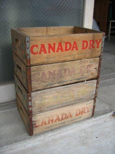 画像1: ボトルクレート カナダドライ CANADA DRY ボトルケース ウッドボックス 木箱 アドバタイジング アンティーク ビンテージ その1
