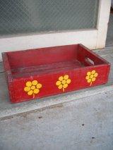 ボトルクレート レッド フラワー アート ペイント 花柄 ボトルケース ウッドボックス 木箱 アドバタイジング アンティーク ビンテージ