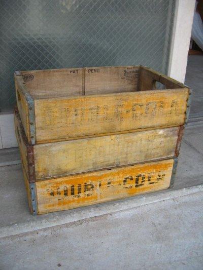 画像1: ボトルクレート ダブルコーラ DOUBLE COLA ボトルケース ウッドボックス 木箱 イエロー アドバタイジング アンティーク ビンテージ その8