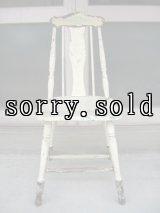 ウッドチェア カントリー シャビー 椅子 ホワイト×ブラック×グリーン アンティーク ビンテージ