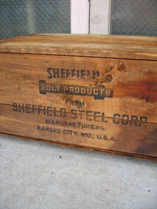 other photographs.3: 20'S 30'S 40'S ウッドボックス SHEFFIELD STEEL CORP 木箱 ストレージBOX アドバタイジング アンティーク ビンテージ